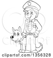 Clipart Of A Cartoon Black And White Male Police Officer Royalty Free Vector Illustration by visekart
