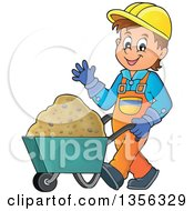 Clipart Of A Caucasian Male Construction Worker Waving And Moving Sand In A Wheelbarrow Royalty Free Vector Illustration