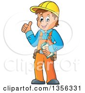 Clipart Of A Cartoon Caucasian Male Construction Worker Giving A Thumb Up Royalty Free Vector Illustration