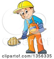 Clipart Of A Cartoon Caucasian Male Construction Worker Shoveling Royalty Free Vector Illustration