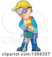 Cartoon Caucasian Male Construction Worker Using A Jackhammer