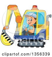 Cartoon Caucasian Male Construction Worker Operating An Excavator