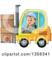 Cartoon Caucasian Male Construction Worker Moving Boxes On A Forklift