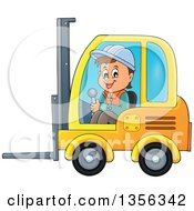Cartoon Caucasian Male Construction Worker Operating A Forklift