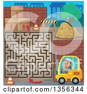 Clipart Of A Cartoon Caucasian Male Construction Worker Operating A Forklift On A Maze Game Royalty Free Vector Illustration by visekart