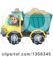 Cartoon Caucasian Male Construction Worker Moving A Load Of Sand In A Dump Truck