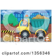 Clipart Of A Cartoon Caucasian Male Construction Worker Moving A Load Of Sand In A Dump Truck In The City Royalty Free Vector Illustration by visekart