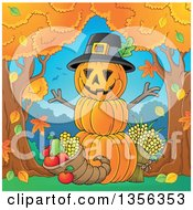 Stack Of Pumpkins With A Thanksgiving Cornucopia Between Autumn Trees