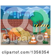 Clipart Of A Construction Zone With A Concrete Mixer Sand And Cones Royalty Free Vector Illustration