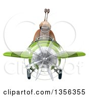 Clipart Of A 3d Snail Aviator Pilot Flying A Green Airplane On A White Background Royalty Free Illustration by Julos