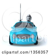 Clipart Of A 3d Armored Chevallier Knight Driving A Blue Convertible Car On A White Background Royalty Free Illustration by Julos