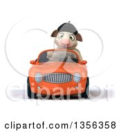 Clipart Of A 3d French Sheep Driving An Orange Convertible Car On A White Background Royalty Free Illustration by Julos