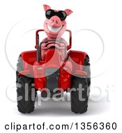 Clipart Of A 3d Pig Wearing Sunglasses And Operating A Red Tractor On A White Background Royalty Free Illustration by Julos
