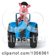 Clipart Of A 3d French Pig Operating A Blue Tractor On A White Background Royalty Free Illustration by Julos