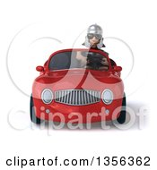 Clipart Of A 3d Young Male Roman Legionary Soldier Wearing Sunglasses And Driving A Red Convertible Car On A White Background Royalty Free Illustration