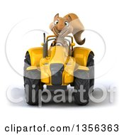 Clipart Of A 3d Squirrel Operating A Yellow Tractor On A White Background Royalty Free Illustration by Julos