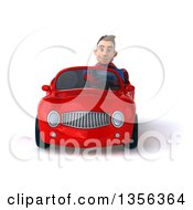 Clipart Of A 3d Young Brunette White Male Super Hero Driving A Red Convertible Car On A White Background Royalty Free Illustration