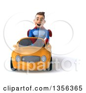 Clipart Of A 3d Young Brunette White Male Super Hero Driving A Yellow Convertible Car On A White Background Royalty Free Illustration by Julos