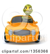 Clipart Of A 3d Tortoise Driving An Orange Convertible Car On A White Background Royalty Free Illustration