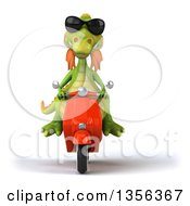 Clipart Of A 3d Green Dragon Wearing Sunglasses And Riding An Orange Scooter On A White Background Royalty Free Illustration by Julos