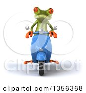 Clipart Of A 3d Green Springer Frog Riding A Blue Scooter On A White Background Royalty Free Illustration