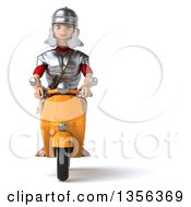 3d Young Male Roman Legionary Soldier Riding A Yellow Scooter On A White Background