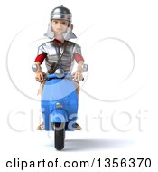 3d Young Male Roman Legionary Soldier Riding A Blue Scooter On A White Background