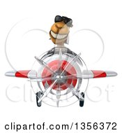 Clipart Of A 3d Arabian Camel Aviator Pilot Wearing Sunglasses And Flying A White And Red Airplane On A White Background Royalty Free Illustration