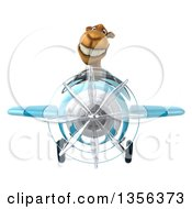 Clipart Of A 3d Camel Aviator Pilot Flying A Blue Airplane On A White Background Royalty Free Illustration