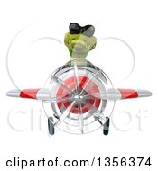 Clipart Of A 3d Crocodile Aviator Pilot Wearing Sunglasses And Flying A White And Red Airplane On A White Background Royalty Free Illustration by Julos