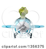 Clipart Of A 3d Crocodile Aviator Pilot Flying A Blue Airplane On A White Background Royalty Free Illustration by Julos