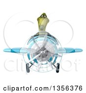 Clipart Of A 3d Green Dinosaur Aviator Pilot Flying A Blue Airplane On A White Background Royalty Free Illustration by Julos