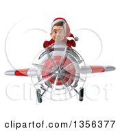 3d Young White Male Super Hero Santa Aviator Pilot Flying A White And Red Airplane On A White Background