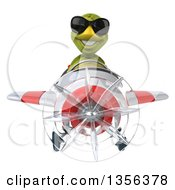 Clipart Of A 3d Tortoise Aviator Pilot Wearing Sunglasses And Flying A White And Red Airplane On A White Background Royalty Free Illustration by Julos