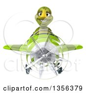 Clipart Of A 3d Tortoise Aviator Pilot Flying A Green Airplane On A White Background Royalty Free Illustration by Julos