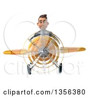 3d Young White Male Doctor Flying A Yellow Airplane On A White Background