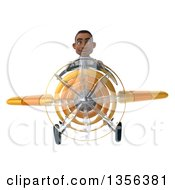 3d Young Black Male Doctor Flying A Yellow Airplane On A White Background