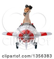 Clipart Of A 3d Brown Horse Aviator Pilot Wearing Sunglasses And Flying A White And Red Airplane On A White Background Royalty Free Illustration by Julos