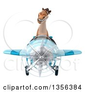 Clipart Of A 3d Brown Horse Aviator Pilot Flying A Blue Airplane On A White Background Royalty Free Illustration