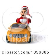 3d Young White Male Super Hero Santa Driving A Yellow Convertible Car On A White Background
