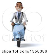 3d Young Black Male Doctor Riding A Blue Scooter On A White Background