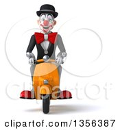 3d White And Black Clown Riding A Yellow Scooter On A White Background