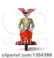3d Funky Clown Wearing Sunglasses And Riding An Orange Scooter On A White Background