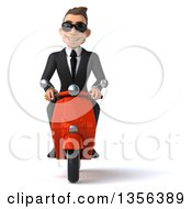 Clipart Of A 3d Young White Businessman Wearing Sunglasses And Riding A Red Scooter On A White Background Royalty Free Illustration