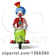 Clipart Of A 3d Colorful Clown Riding A Green Scooter On A White Background Royalty Free Illustration