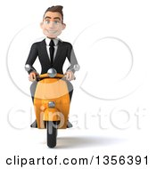 Clipart Of A 3d Young White Businessman Riding A Yellow Scooter On A White Background Royalty Free Illustration