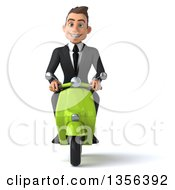 3d Young White Businessman Riding A Green Scooter On A White Background