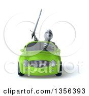 Clipart Of A 3d Armored Chevallier Knight Driving A Green Convertible Car On A White Background Royalty Free Illustration