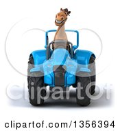 3d Brown Horse Operating A Blue Tractor On A White Background