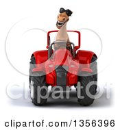 Clipart Of A 3d Brown Horse Wearing Sunglasses And Operating A Red Tractor On A White Background Royalty Free Illustration